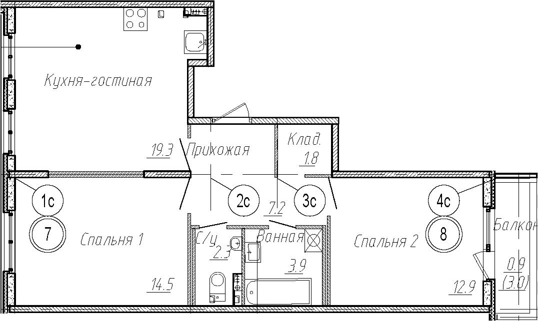 3Е-комнатная, 61.9 м²– 2