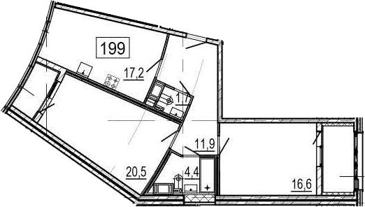3Е-к.кв, 76.3 м², 4 этаж
