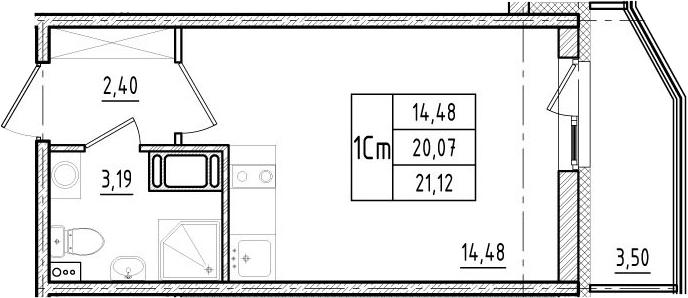 Студия, 20.07 м²– 2