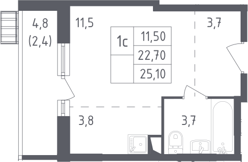 Студия, 25.1 м²– 2