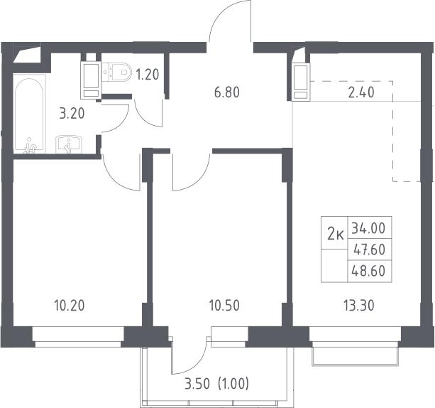 3Е-к.кв, 48.6 м², 8 этаж