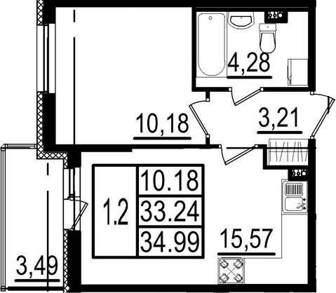 2-к.кв (евро), 36.73 м²
