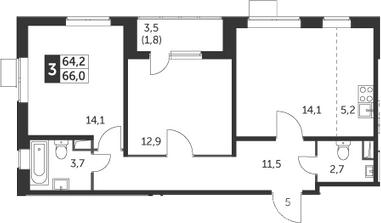 3-к.кв (евро), 67.8 м²