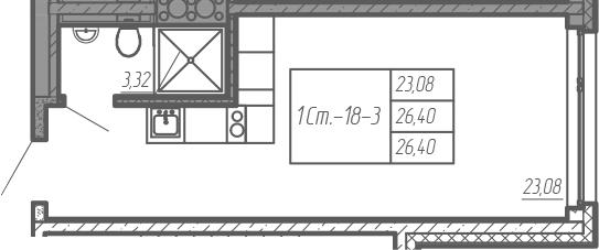 Студия, 26.4 м²– 2