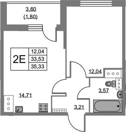 2Е-к.кв, 35.33 м², от 15 этажа