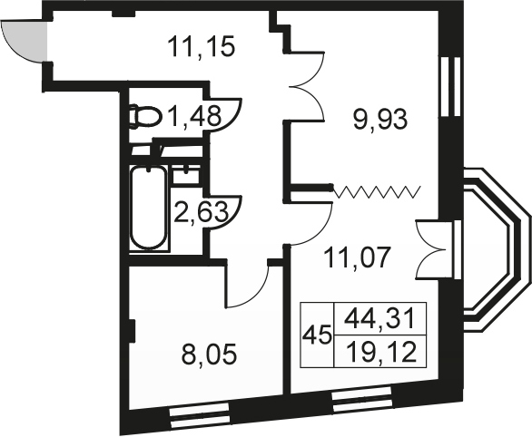 2-к.кв, 44.31 м²