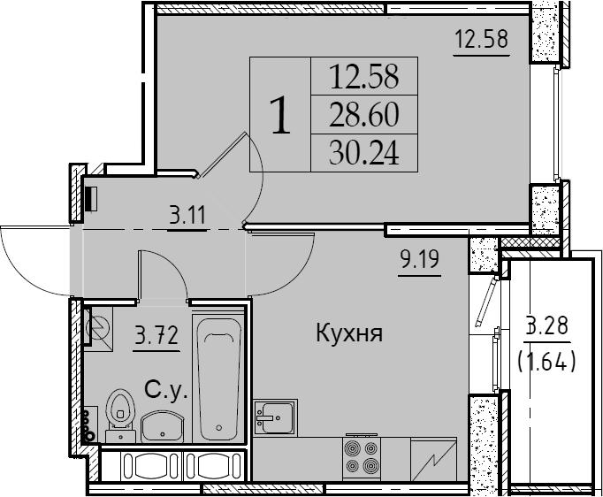1-к.кв, 30.24 м², 7 этаж