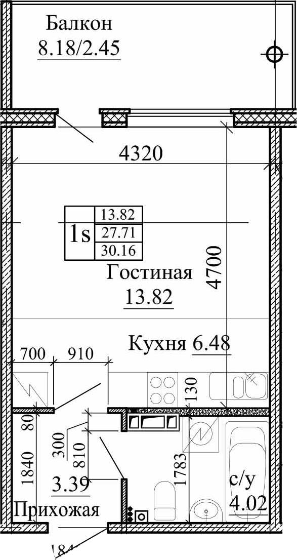 Студия, 30.16 м²– 2