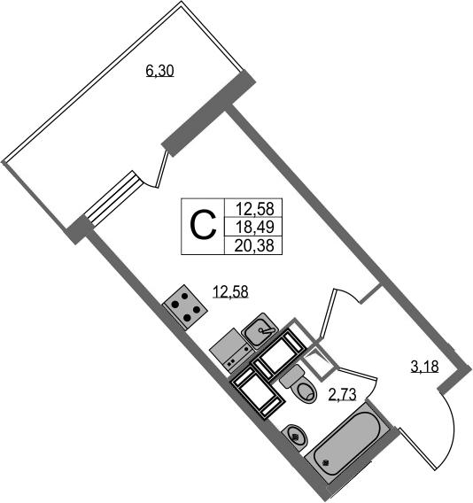 Студия, 24.79 м²