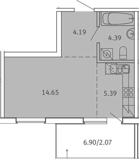 Студия, 30.69 м²– 2