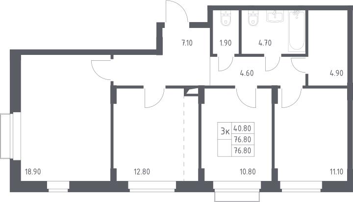 3-к.кв, 76.8 м²