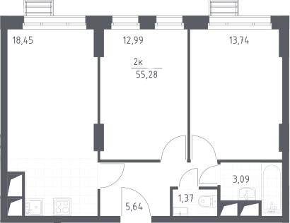 3Е-комнатная, 55.28 м²– 2