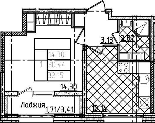 1-к.кв, 32.15 м²