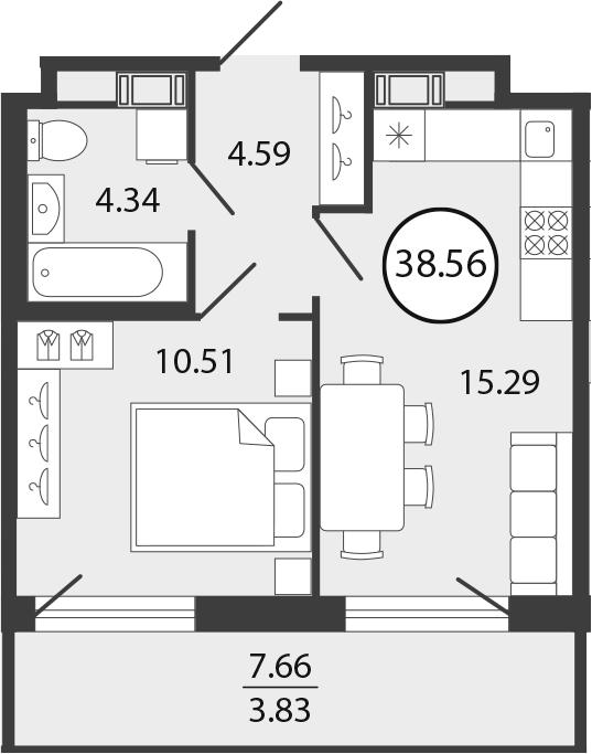 2Е-к.кв, 38.56 м², 2 этаж