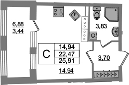 Студия, 22.47 м²