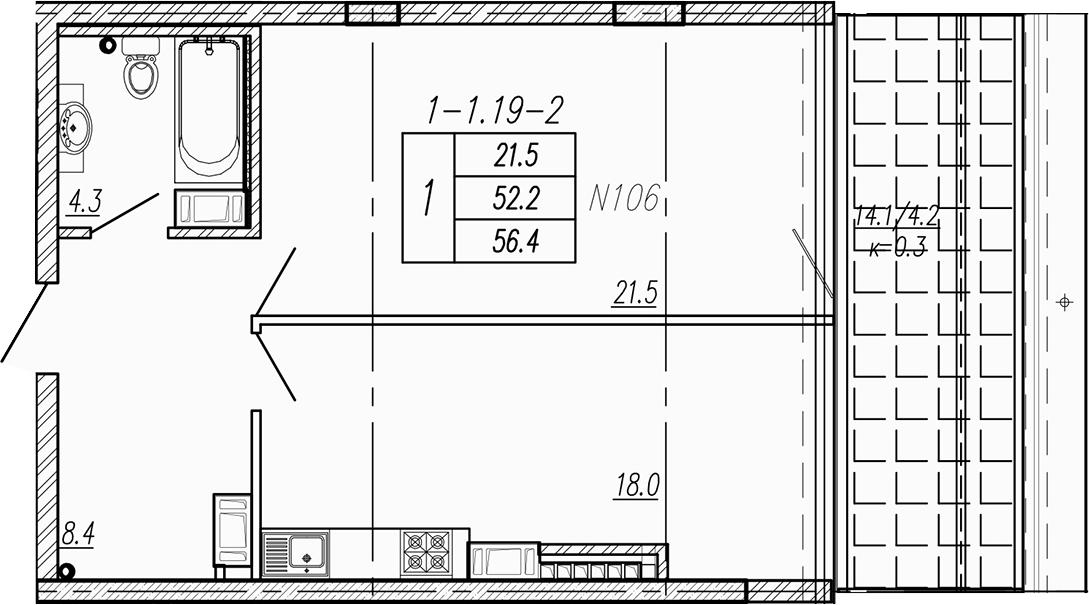 2Е-к.кв, 56.4 м²