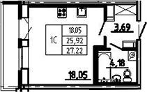 Студия, 27.22 м², 19 этаж