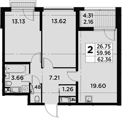 3Е-комнатная, 62.36 м²– 2