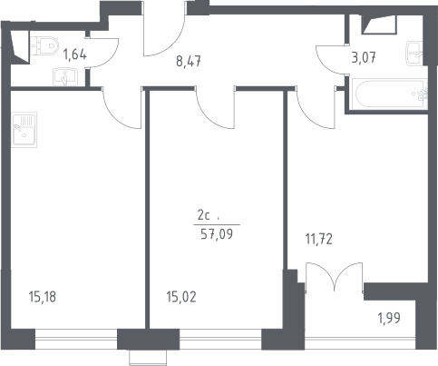 3Е-к.кв, 57.09 м²
