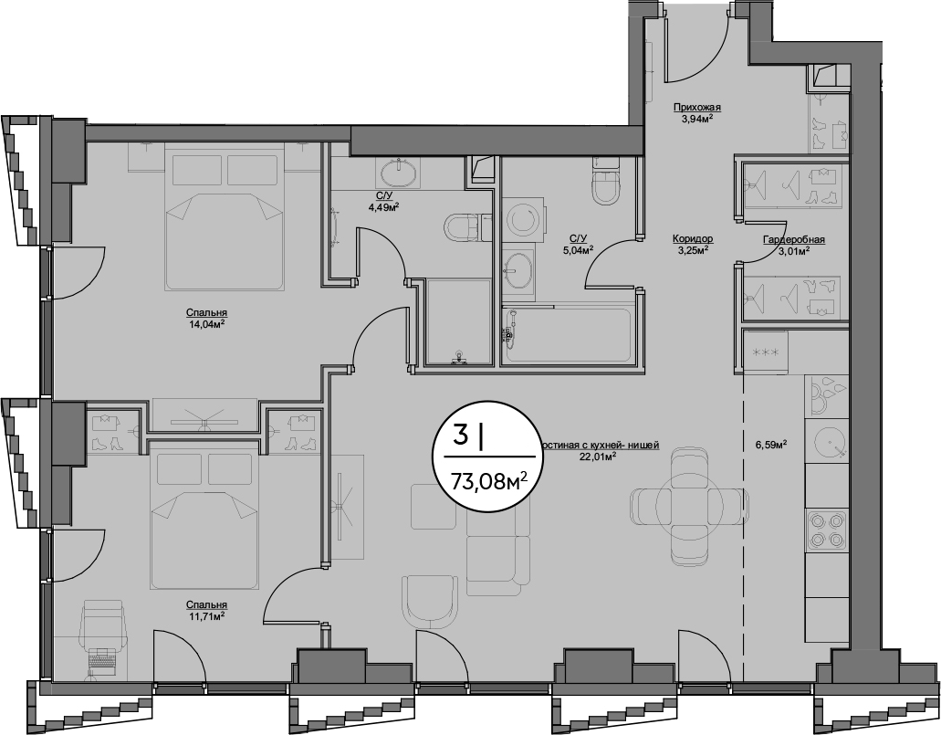 3Е-к.кв, 74.08 м²