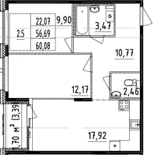 3Е-к.кв, 56.69 м², 1 этаж