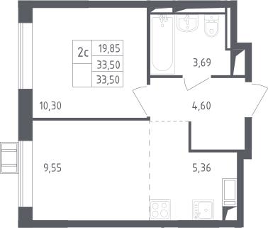 2Е-к.кв, 33.5 м², 16 этаж