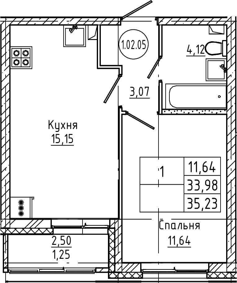 2Е-к.кв, 35.23 м², 2 этаж