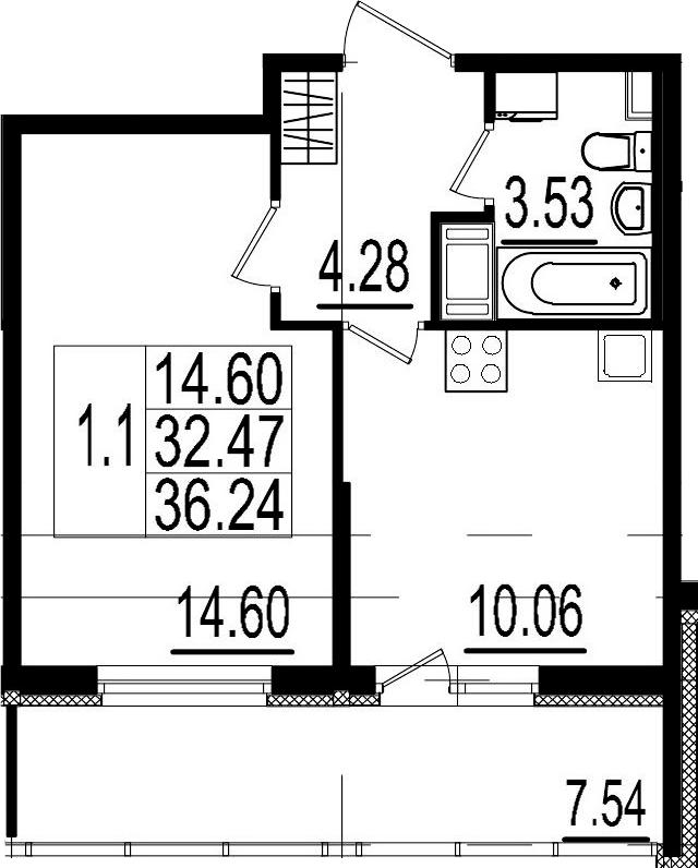 1-к.кв, 32.47 м²