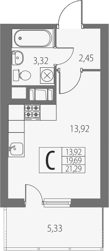 Студия, 25.02 м²