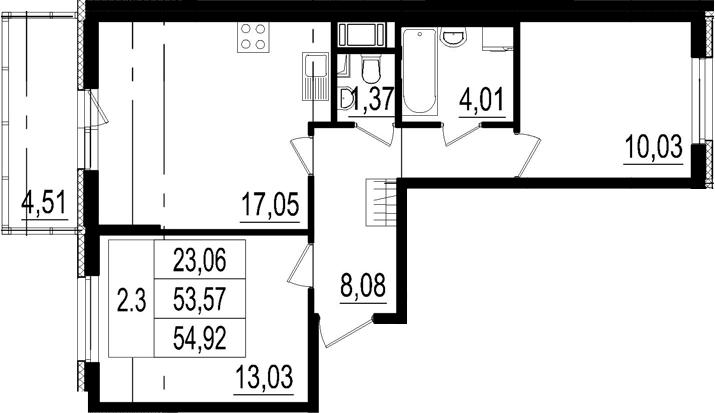 3Е-к.кв, 53.57 м²
