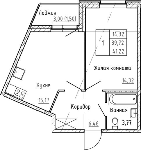 2Е-к.кв, 41.22 м², 1 этаж