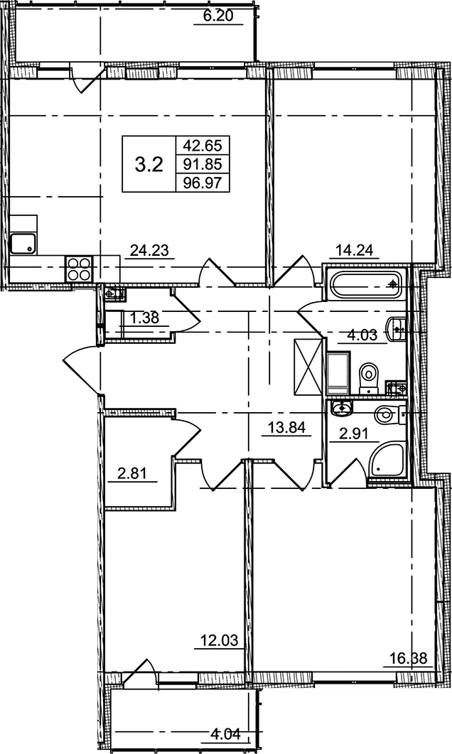 4Е-к.кв, 91.85 м²