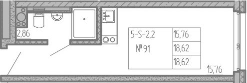 Студия, 18.62 м²– 2
