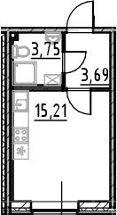 Студия, 22.65 м²
