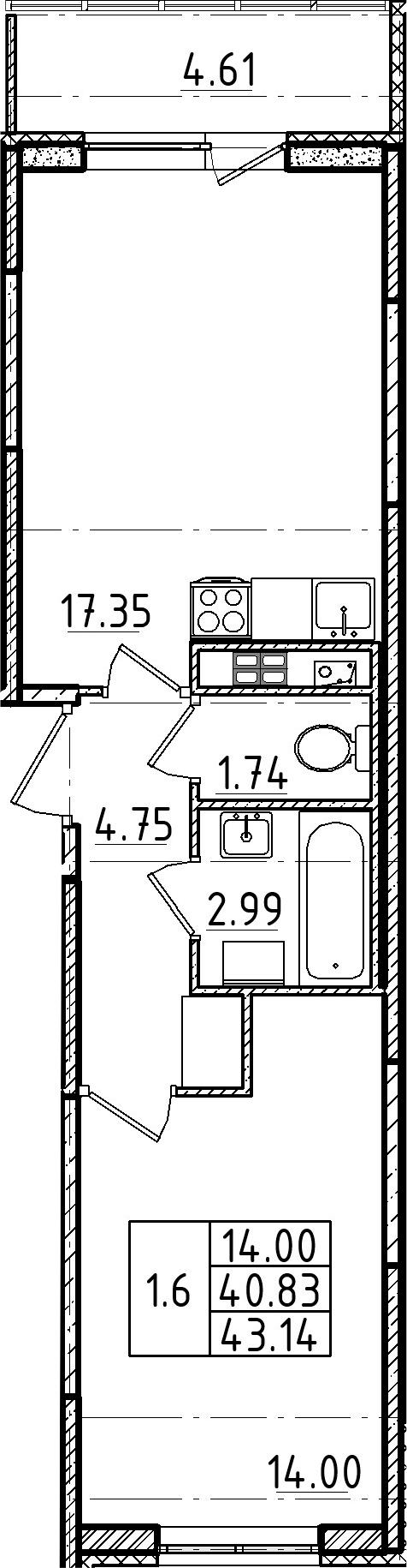2Е-комнатная, 40.83 м²– 2