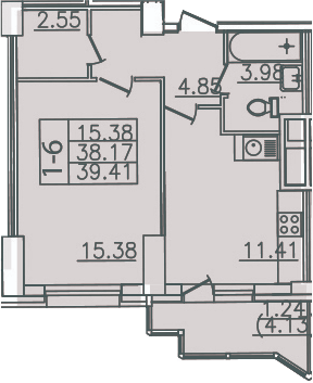 1-комнатная, 39.41 м²– 2