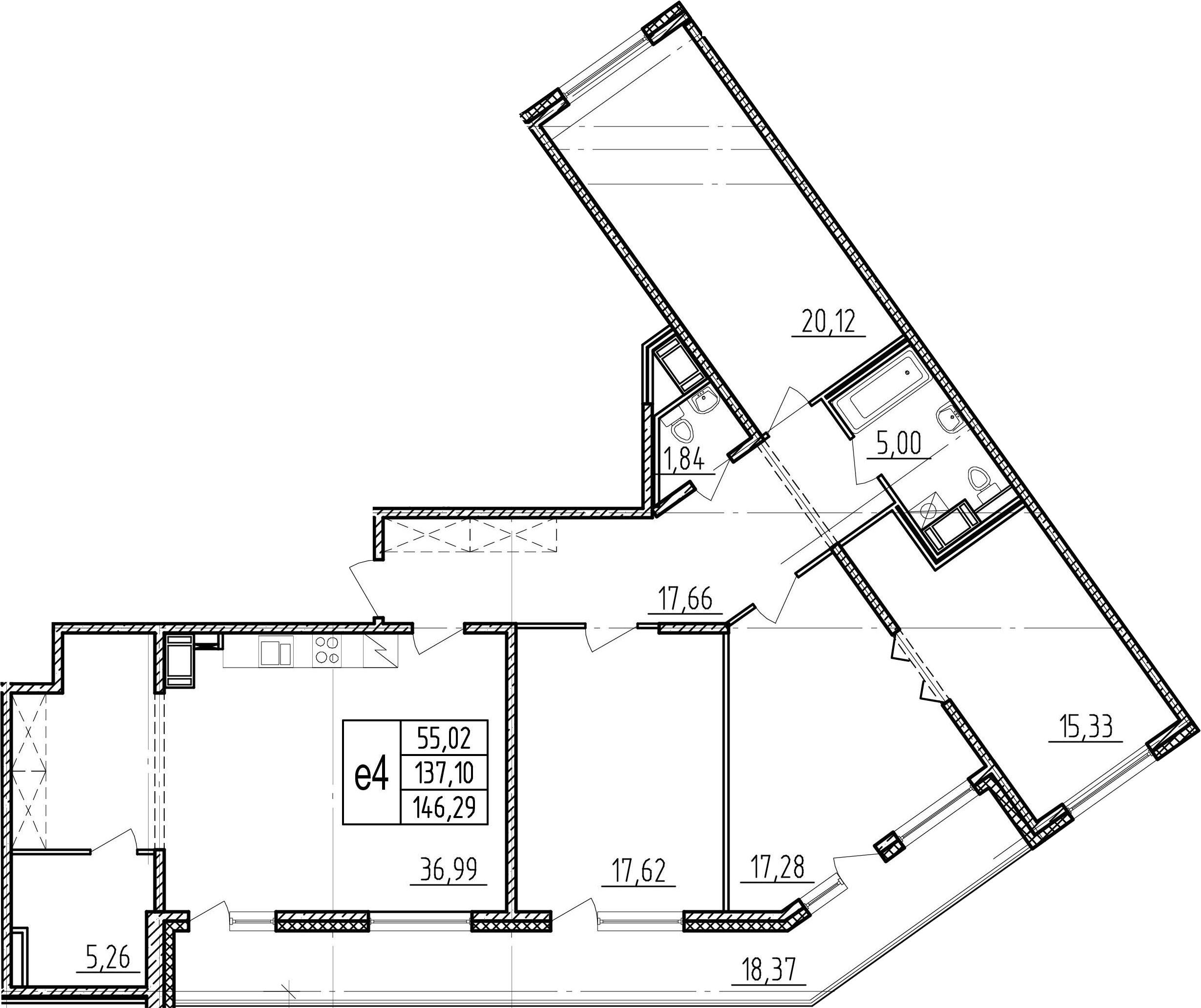 5Е-комнатная, 137.1 м²– 2