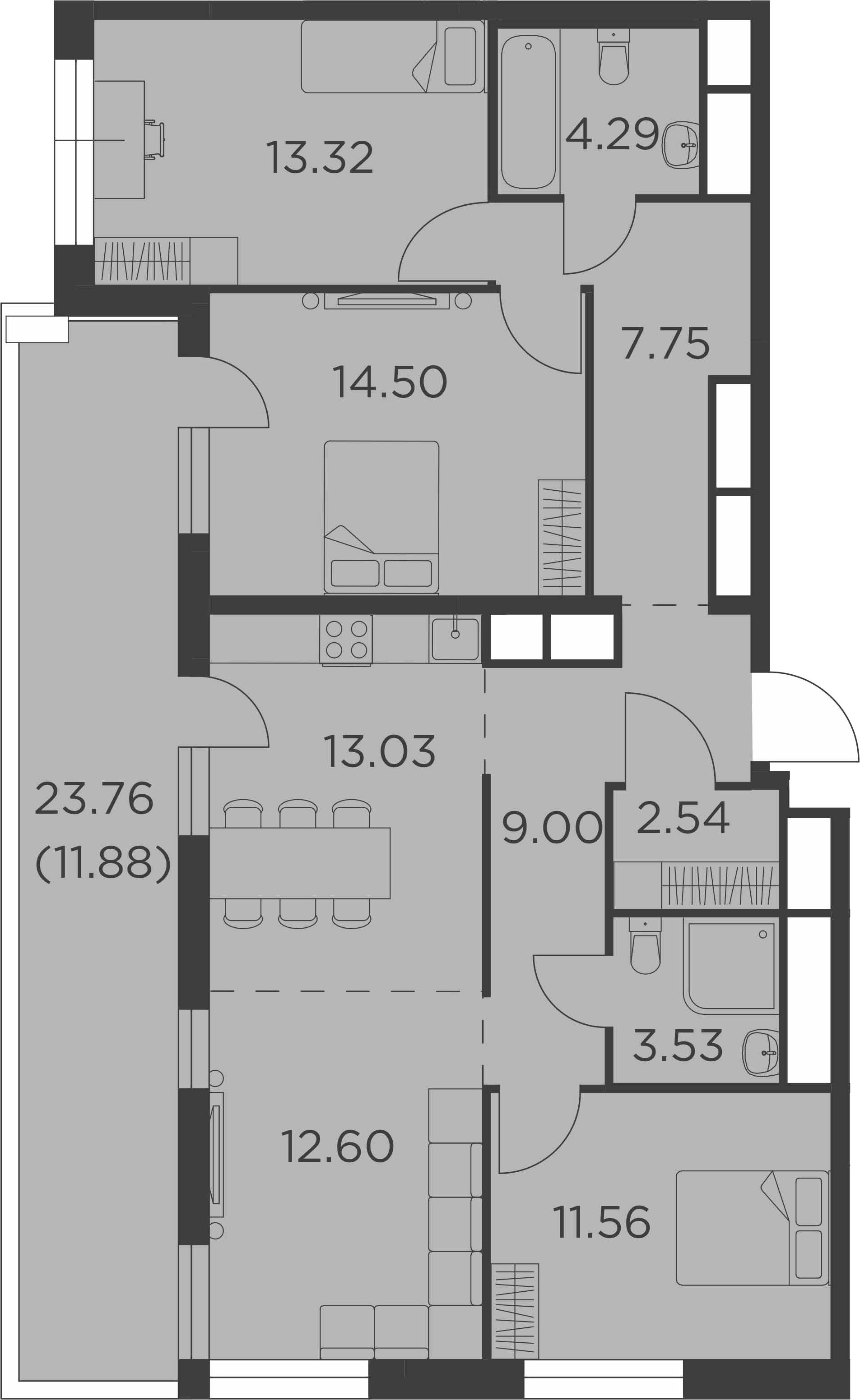 4Е-комнатная, 104 м²– 2