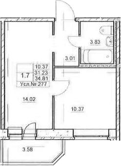 2Е-комнатная, 31.23 м²– 2