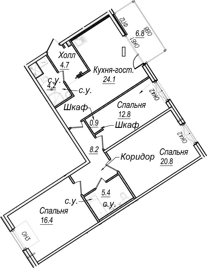 4Е-к.кв, 99.5 м²
