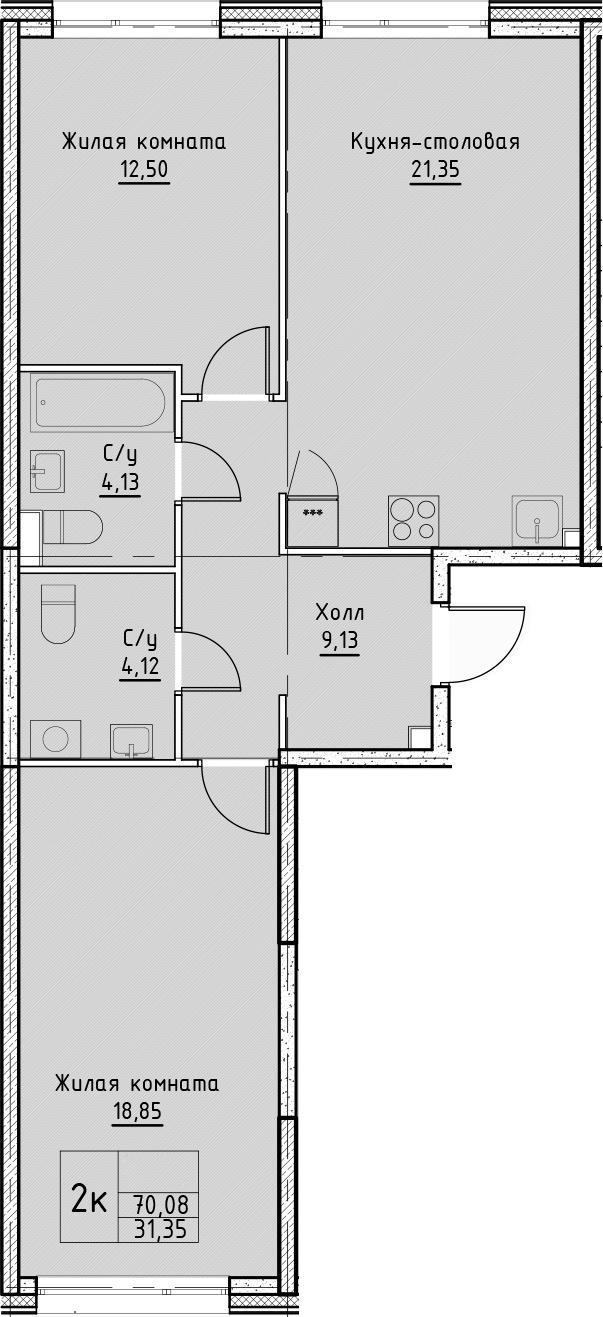 3Е-комнатная, 70.08 м²– 2