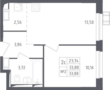 2Е-к.кв, 33.88 м², 8 этаж