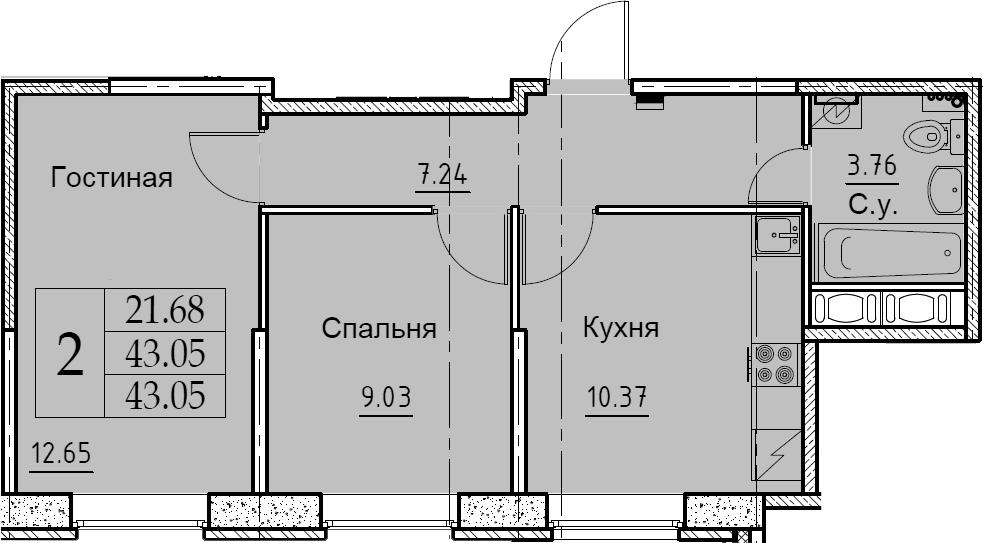 2-к.кв, 43.05 м²