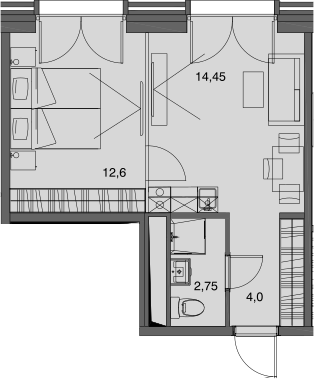 1-к.кв, 33.8 м²
