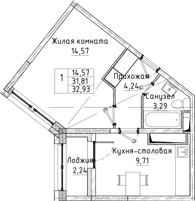1-к.кв, 32.93 м²