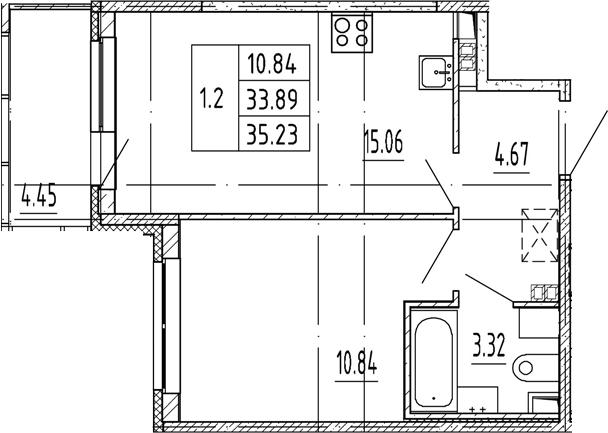 2Е-комнатная, 33.89 м²– 2