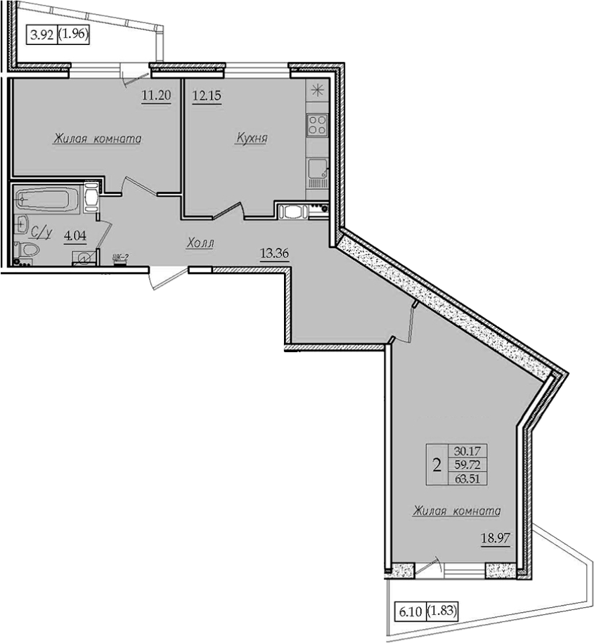 2-к.кв, 63.51 м²