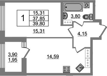 1-к.кв, 37.85 м², от 15 этажа