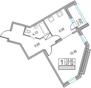 1-комнатная, 41.34 м²– 2