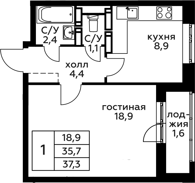1-комнатная, 37.3 м²– 2